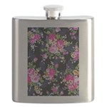 Rose Bouquets on a Black Background Flask