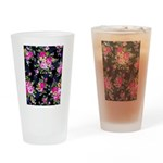 Rose Bouquets on a Black Background Drinking Glass