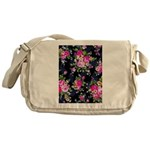 Rose Bouquets on a Black Background Messenger Bag