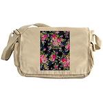 Rose Bouquets on a Black Background Messenger Bag