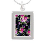 Rose Bouquets on a Black Background Necklaces