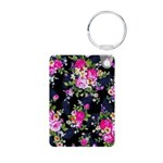 Rose Bouquets on a Black Background Keychains