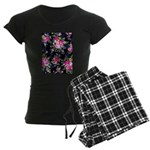 Rose Bouquets on a Black Background Pajamas