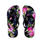 Rose Bouquets on a Black Background Flip Flops
