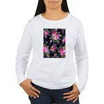 Rose Bouquets on a Black Background Long Sleeve T-