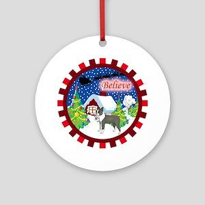 Believe Boston Terrier Ornament (Round)