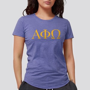 Alpha Phi Omega Letters Yellow White T-Shirt