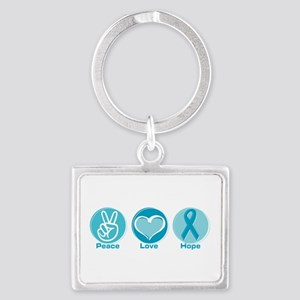 Peace Love Teal Hope Landscape Keychain