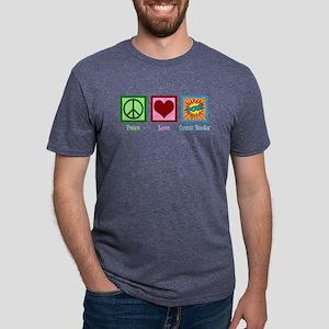 Peace Love Comic Books Mens Tri-blend T-Shirt