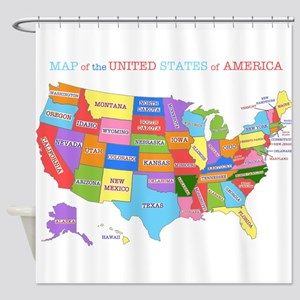 Rainbow Map of the USA Shower Curtain