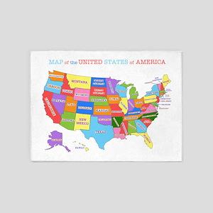 Rainbow Map of the USA 5'x7'Area Rug