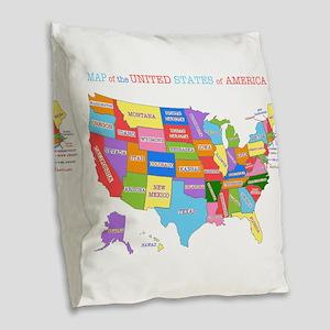 Rainbow Map of the USA Burlap Throw Pillow