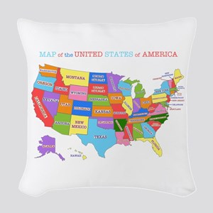 Rainbow Map of the USA Woven Throw Pillow