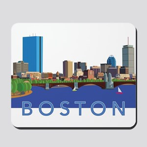 Cool Crisp Illustration of the Back Bay Mousepad