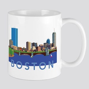Cool Crisp Illustration of the Back Bay skyli Mugs