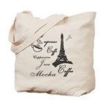 Paris Cafe Reusable Canvas Tote Bag
