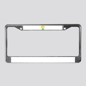 rainbow puke happy face License Plate Frame