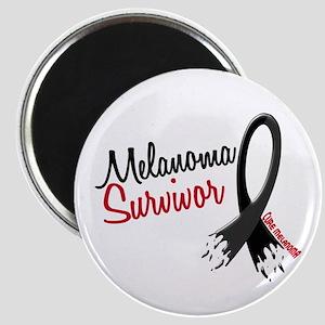 Melanoma Survivor Frayed Ribbon Magnet