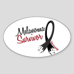 Melanoma Survivor Frayed Ribbon Oval Sticker