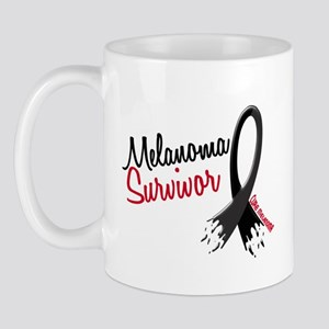 Melanoma Survivor Frayed Ribbon Mug