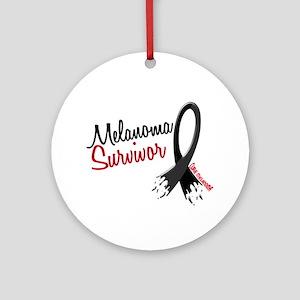 Melanoma Survivor Frayed Ribbon Ornament (Round)