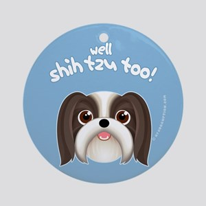 SHIH TZU TOO! Boy Dog Ornament (Round)