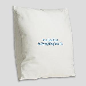 Put God First Burlap Throw Pillow