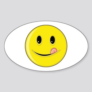 Smiley Face - Licking Lips Oval Sticker