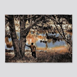 Lone Lake Observer Pen and Ink Sket 5'x7'Area Rug