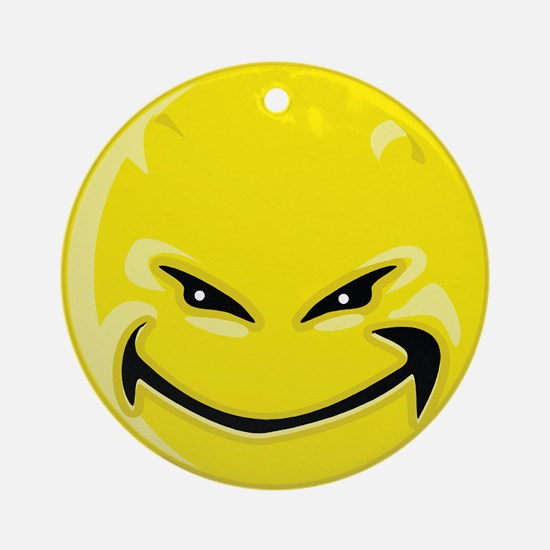 Smiley Face - Yellow Devil Round Ornament