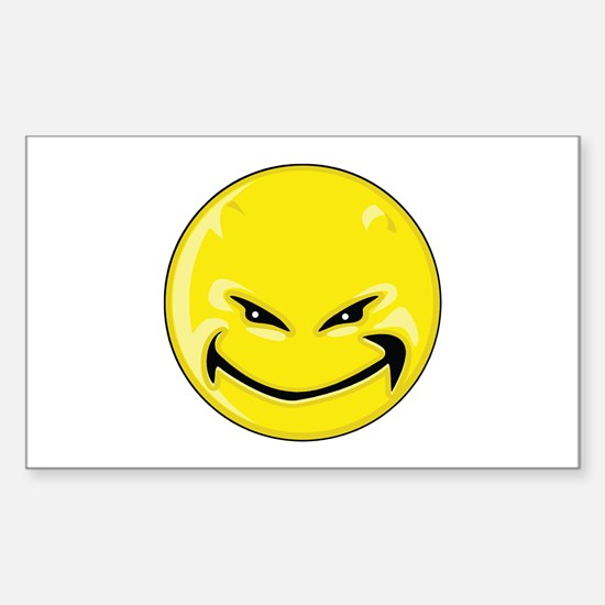 Smiley Face - Yellow Devil Rectangle Decal
