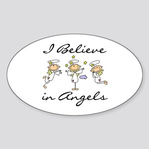 I Believe in Angels Oval Sticker