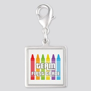 Team First Grade Silver Square Charm