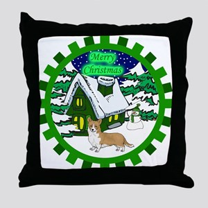 Country Welsh Corgi Christmas Throw Pillow