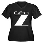 Generation Z Women's Plus Size V-Neck Dark T-Shirt