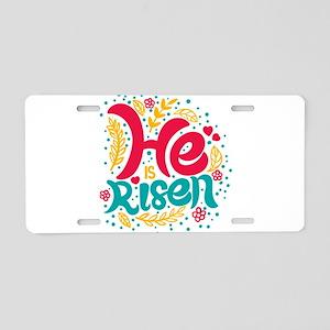 he is risen Aluminum License Plate