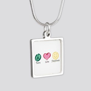 Peace Love Happiness Silver Square Necklace