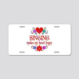 Singing Happy Heart Aluminum License Plate