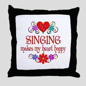 Singing Happy Heart Throw Pillow