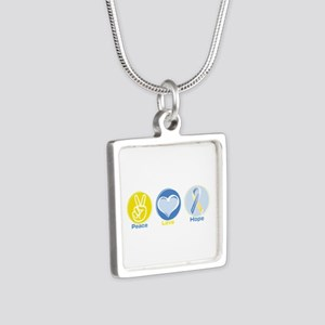 Peace Love Ds Hope Silver Square Necklaces