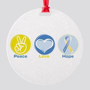 Peace Love Ds Hope Round Ornament