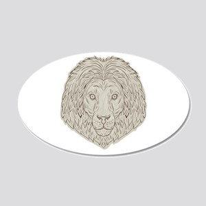 Lion Big Cat Head Mane Drawing Wall Decal