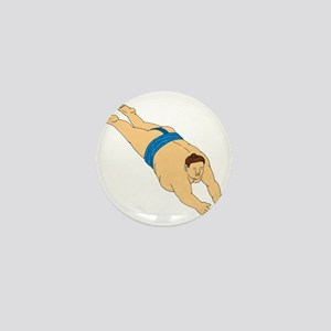 Japanese Sumo Wrestler Diving Drawing Mini Button