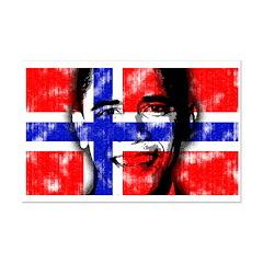 Obama Norway Flag Mini Poster Print