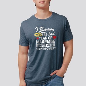 Second Wedding Anniversary Married Superpo T-Shirt