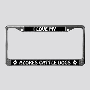 I Love My Azores Cattle Dogs License Plate Frame
