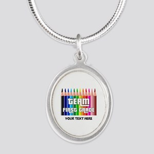 First Grade Team Silver Oval Necklace