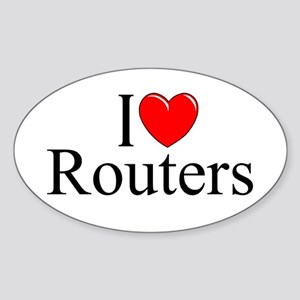 """I Love (Heart) Routers"" Oval Sticker"