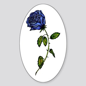 Blue Rose Oval Sticker