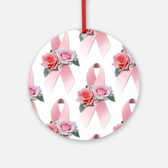 Breast Cancer Ribbon & Roses Keepsake (Round)